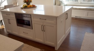 white kitchen cabinetry island