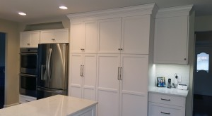 Double wall ovens, refrigerator and tall pantry cabinets