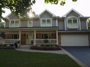 Traditional style home exterior with angled roof lines and front porch