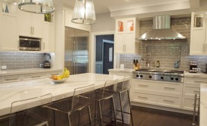 Transitional style white kitchen with gray accents