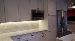 Kitchen with white cabinets and plenty of counter space