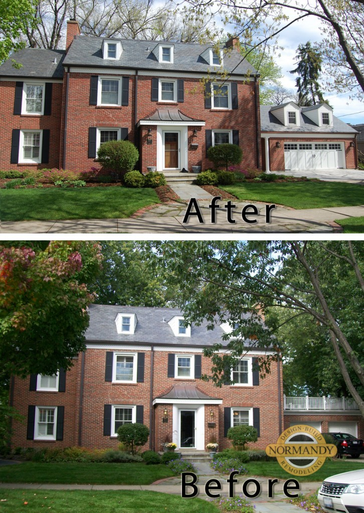 before and after photo of colonial photo with garage addition