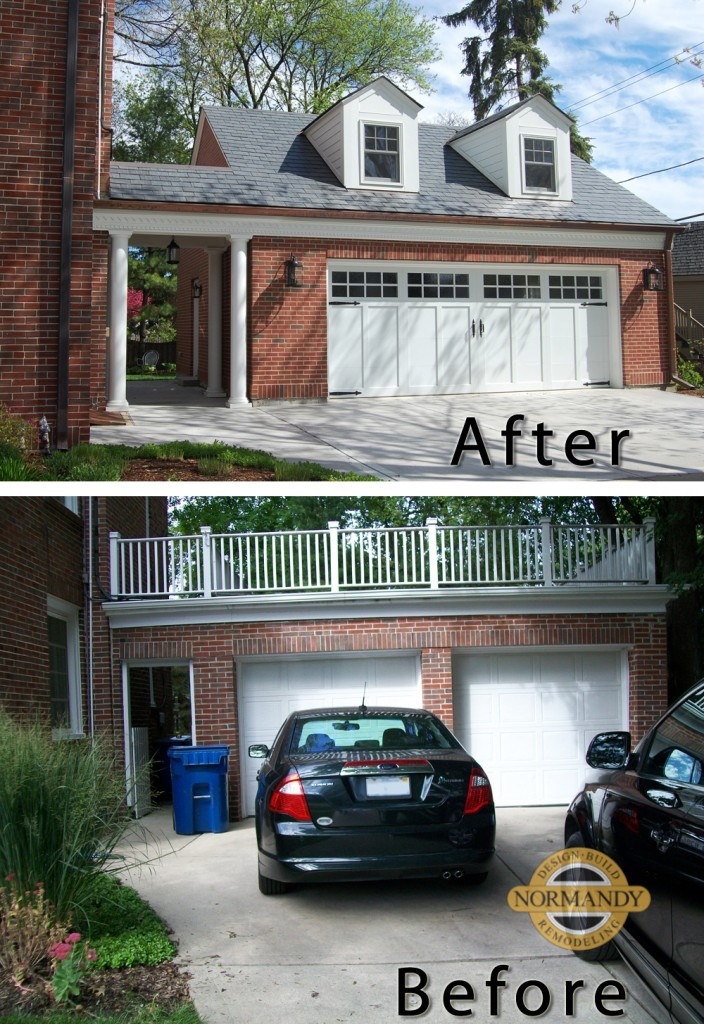 before and after photo of garage rebuild