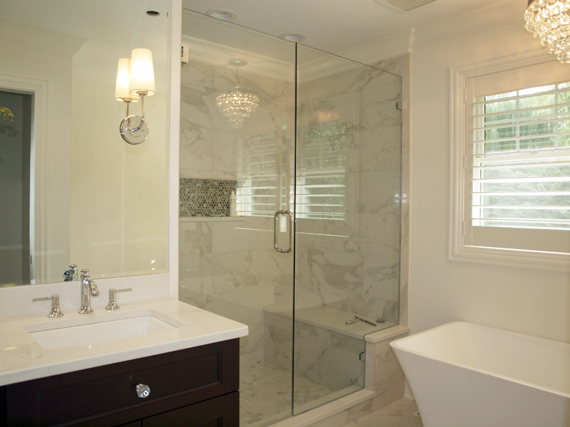 Shower in master suite that is part of a home addition