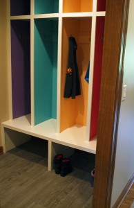 mudroom cubbies with colorful interiors