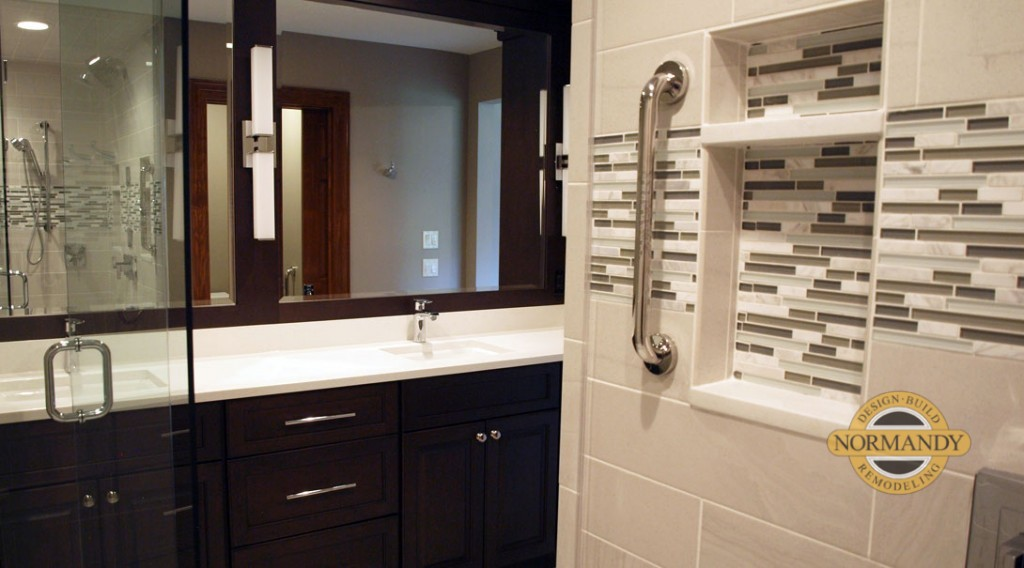 free standing shower and dark stained cabinets in bathroom remodel