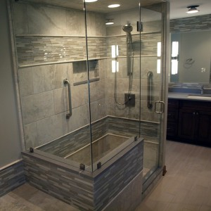 free standing shower in master bathroom