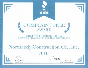 2016 Complaint Free Award from BBB