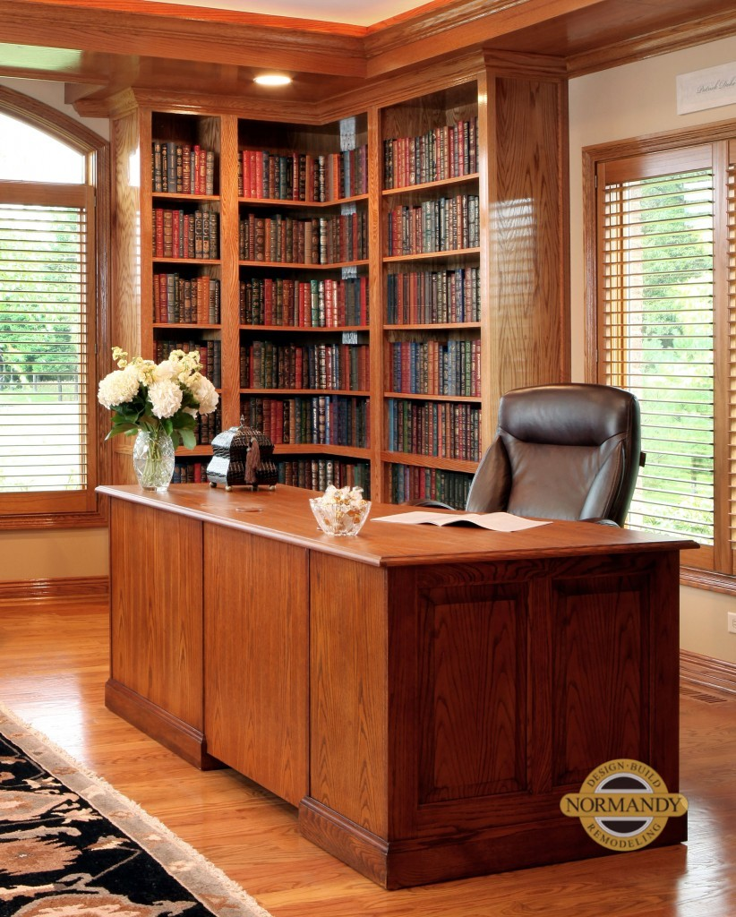 Traditional oak desk and library