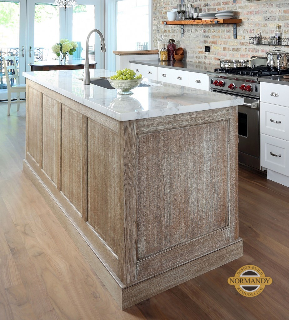 Rift sawn white oak island with a distressed finish