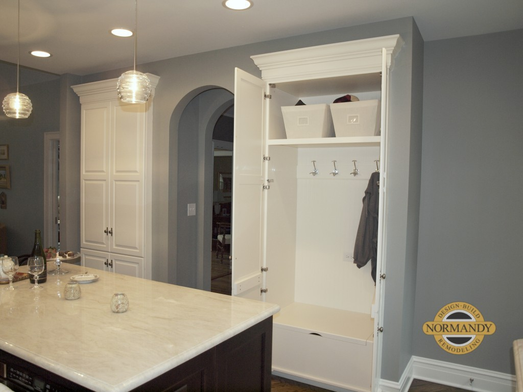 Mudroom cabinet in the kitchen