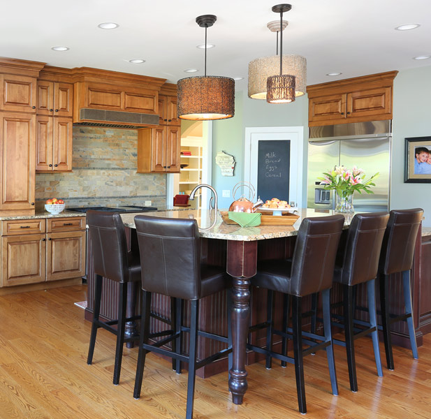 Light and dark stained kitchen with large island