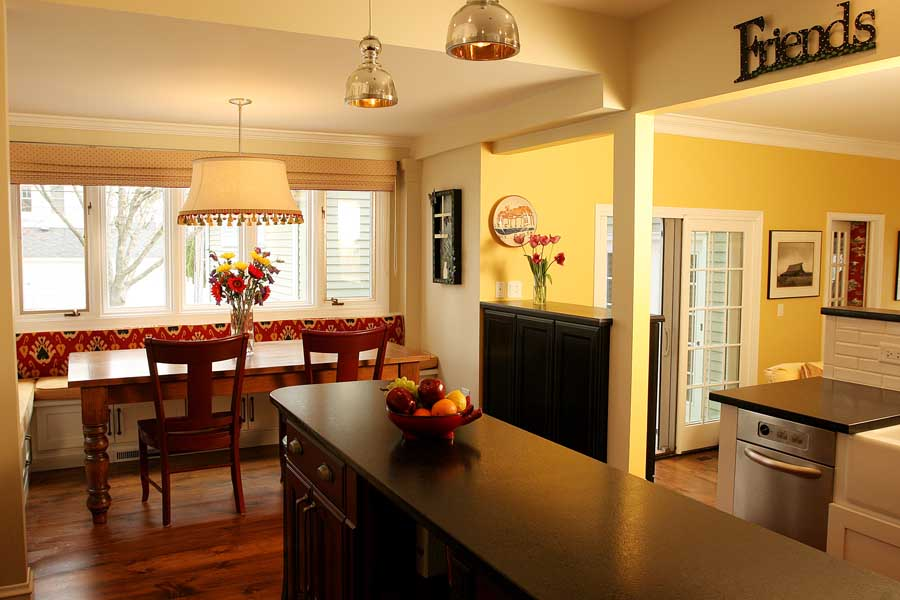View into living space from kitchen