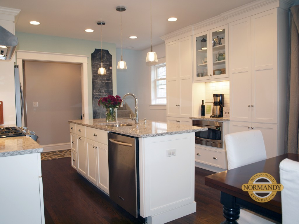 Evanston kitchen remodel with white painted cabinets