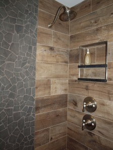 Stone And Wood Porcelain Tile In The Shower Normandy