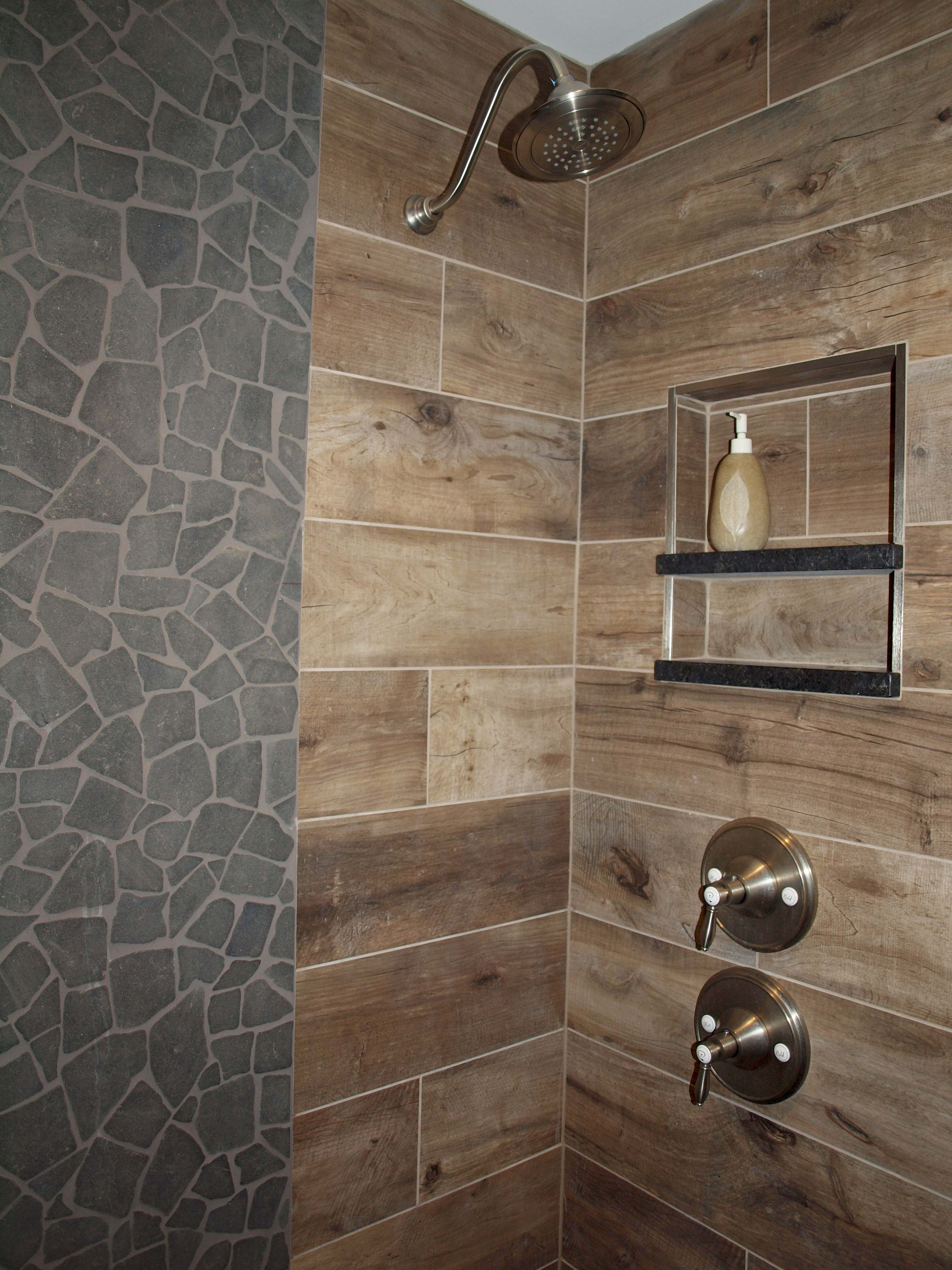 wood look tile on walls normandy remodeling. Black Bedroom Furniture Sets. Home Design Ideas