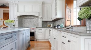 Painted kitchen white and gray