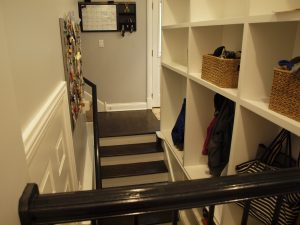 mudroom built into stairwell