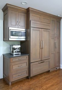 kitchen cabinets with warm gray stain