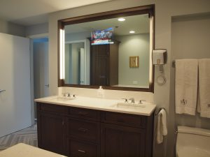 Bathroom vanity with built-in television