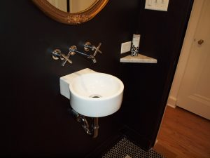 powder room with wall mount sink