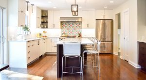 white painted kitchen cabinets in split level home