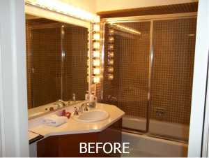 Before photo of outdated, 70's style bathroom