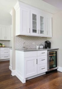 Coffee bar and elegant white cabinets