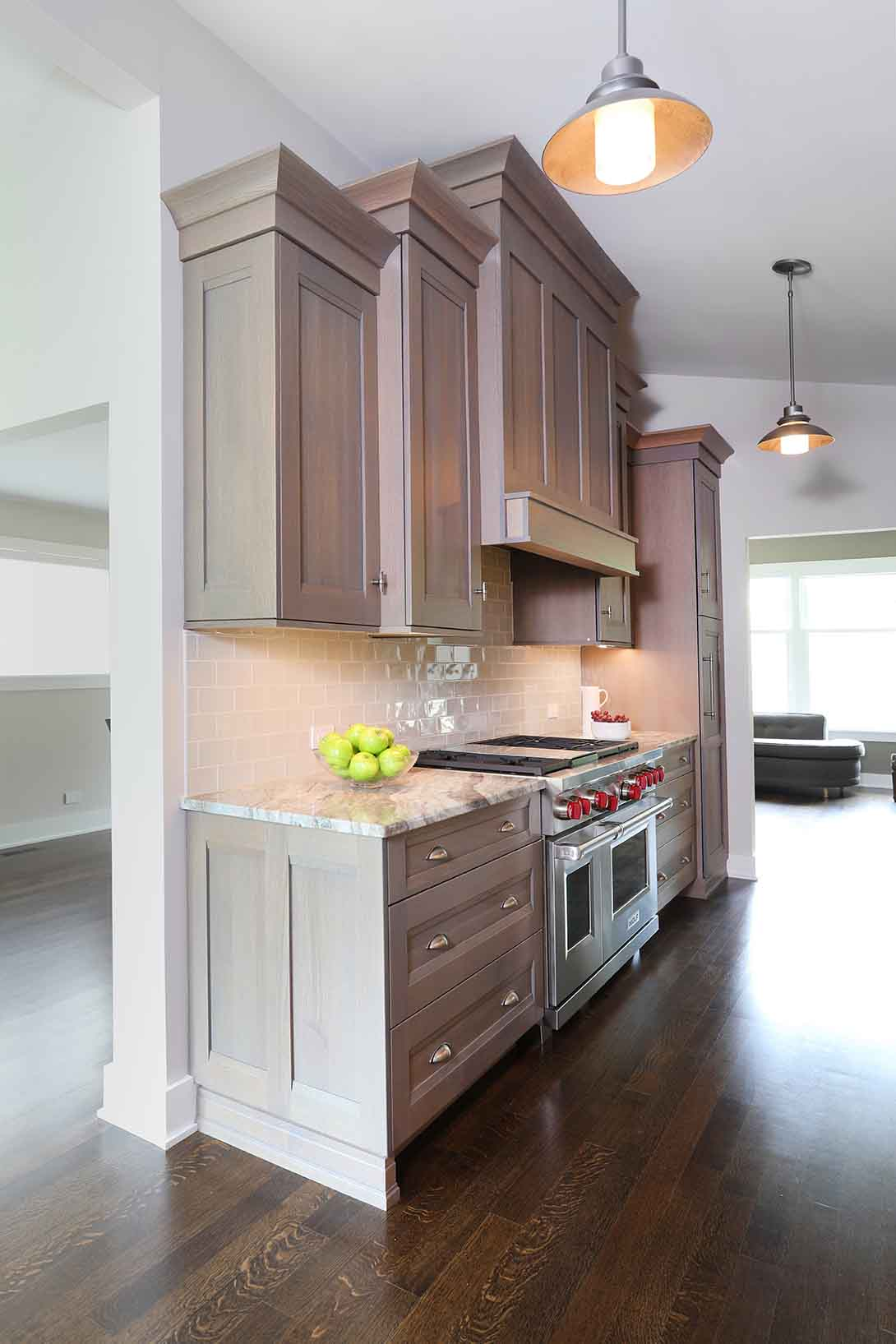 Light Gray Stain On Wood Cabinets In Galley Kitchen Normandy Remodeling