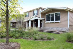 Split level home exterior makeover in the prairie style