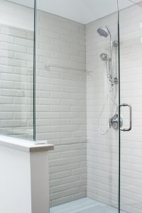 Frameless Large Shower with bench and dual head shower