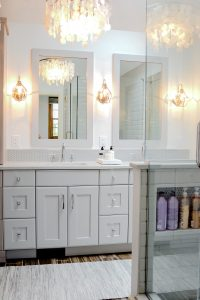 Two bowl vanity with under cabinets