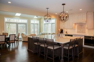 Open floor plan with kitchen, family room and eating area