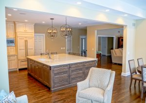 Open floor plan of kitchen, family room and eating area
