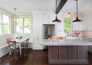 L shaped kitchen with island and separate breakfast nook
