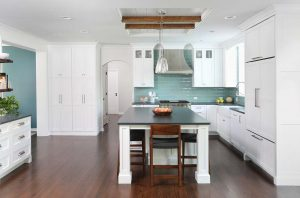 Kitchen with island and reclaimed wood accents