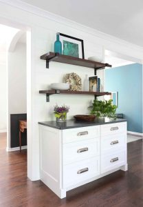 White painted drawer and reclaimed wood shelves