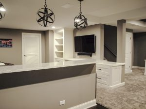 Entertainment Center with built-in cabinets, open shelves for storage