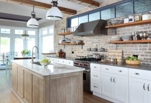 Reclaimed wood beams and open shelves in Kitchen