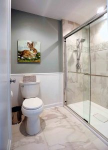 Walk in shower and toilet separate from sink area