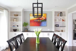 Custom white cabinetry in dining room
